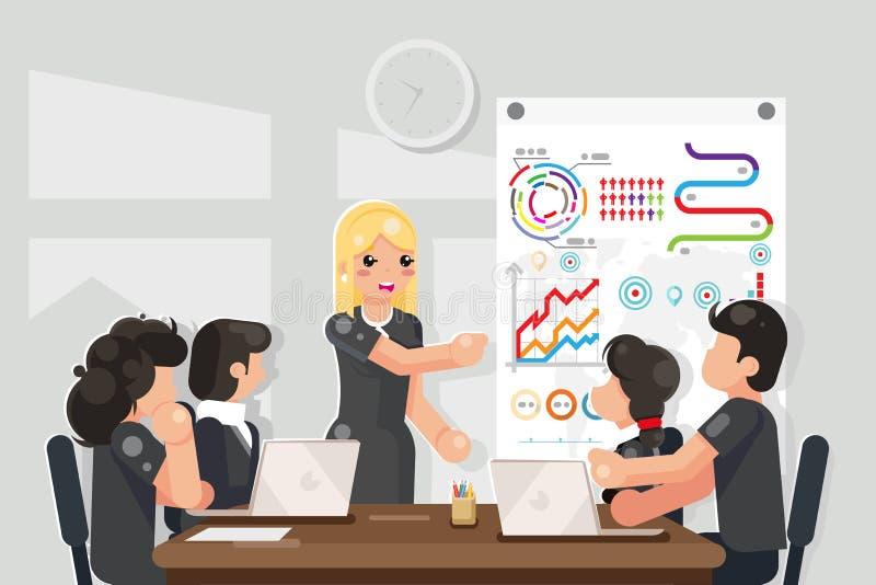 Solução de treinamento das ideias da reunião de negócios que procura a ilustração lisa do vetor do projeto ilustração do vetor