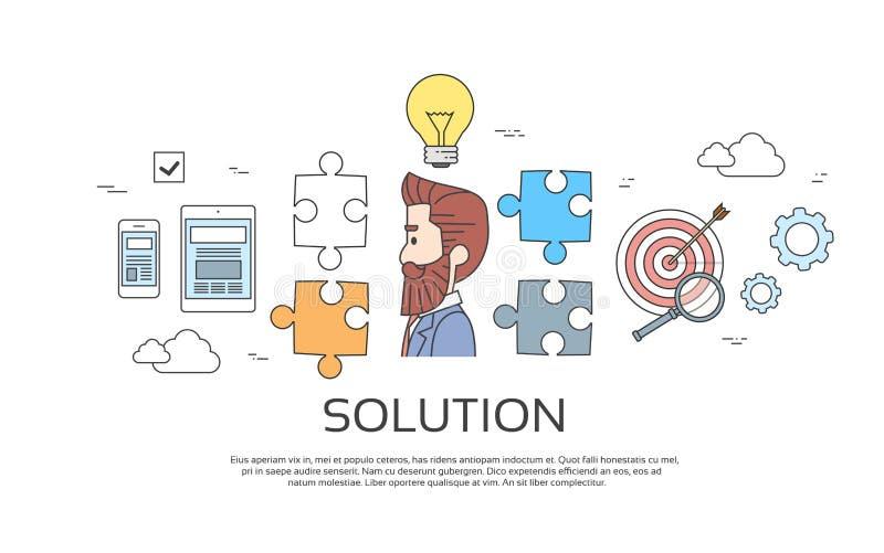 Solução do homem de negócio, sessão de reflexão criativa do conceito da ideia da ampola ilustração do vetor