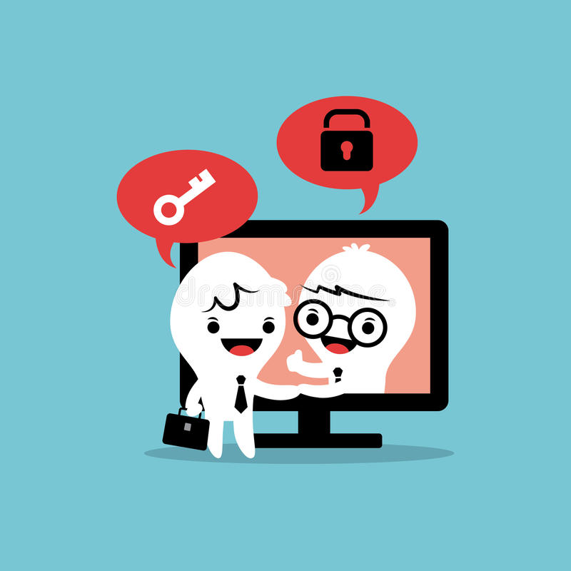 Solução em linha do negócio do negócio do tela de computador do aperto de mão dos desenhos animados dos homens de negócios ilustração stock