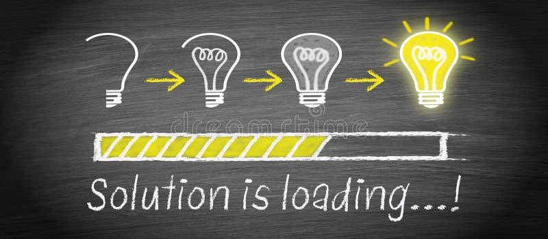 A solução está carregando - conceito grande da ampola da ideia ilustração do vetor