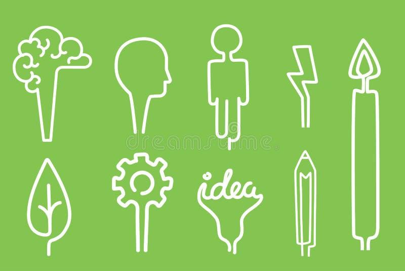 Solução lisa da inspiração do conceito da energia do símbolo ajustado da ilustração do vetor do clique dos desenhos animados cria ilustração royalty free