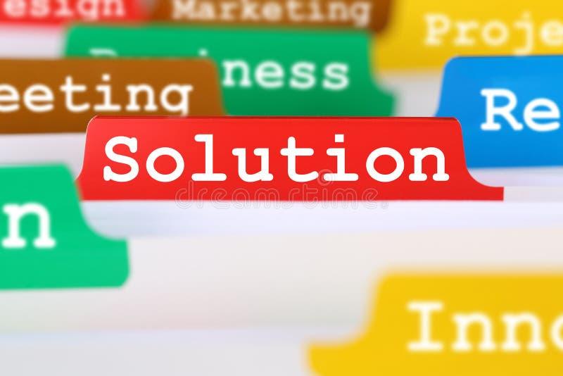Solução para o texto do escritório do conceito do negócio do problema no registro dentro imagens de stock