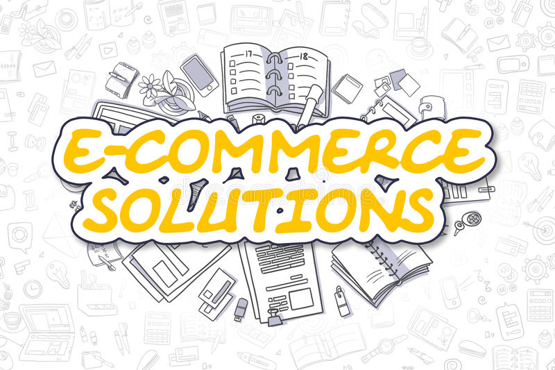 Soluções do comércio eletrônico - palavra amarela da garatuja Conceito do negócio ilustração do vetor