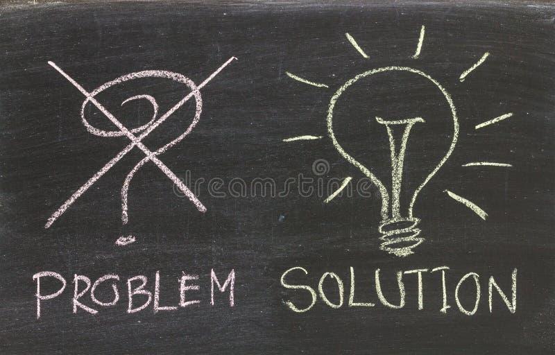 Soluções dos problemas escritas à mão com giz branco em um quadro-negro imagem de stock
