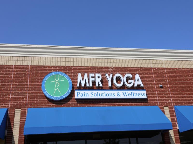 Soluções e bem-estar da dor da ioga de MFR fotos de stock royalty free