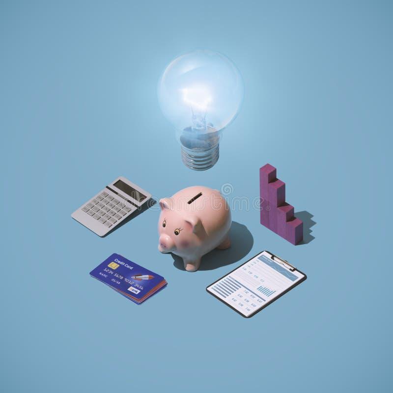 Soluções e estratégias planejar financeiro imagem de stock