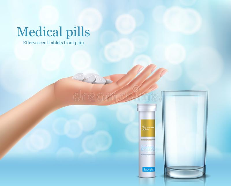 Soluble round tablets lying in the human hand. Glass of water, white cylindrical container with brand label, realistic vector illustration. Advertising poster vector illustration