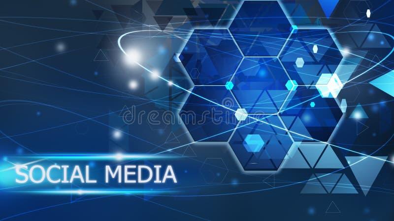 Solución azul del concepto del medios extracto social del fondo libre illustration