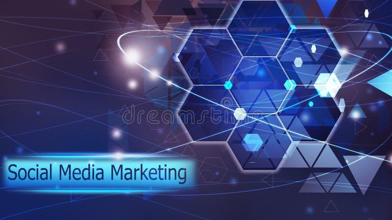 Solución azul del concepto del medios del márketing extracto futuro social del fondo ilustración del vector