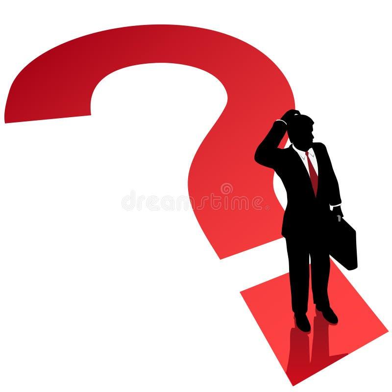 Solución de la decisión del hombre de negocios del signo de interrogación ilustración del vector