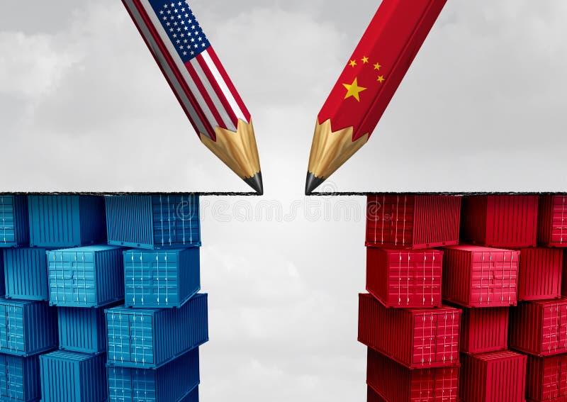 Solución del comercio de China Estados Unidos stock de ilustración