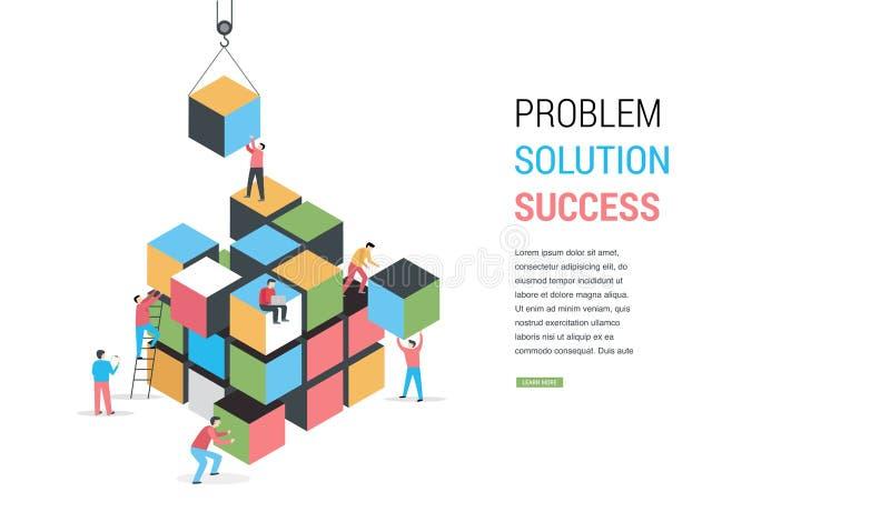 Solución del rompecabezas del cubo que soluciona la bandera del concepto del problema ilustración del vector