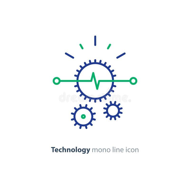 Solución elegante técnica, línea icono, concepto de la rueda dentada de la integración ilustración del vector