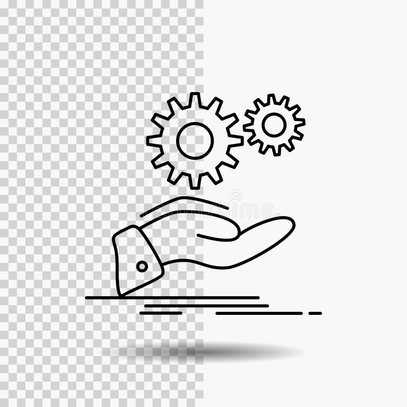 solución, mano, idea, engranaje, línea de servicios icono en fondo transparente Ejemplo negro del vector del icono stock de ilustración