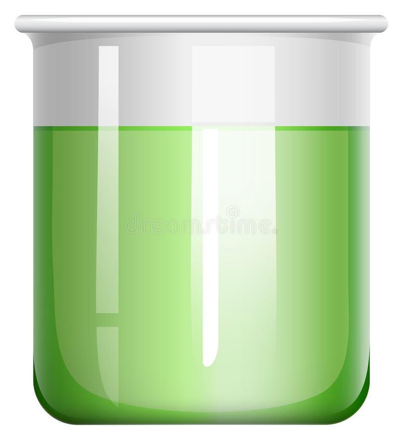 Solución verde en el cubilete de cristal ilustración del vector