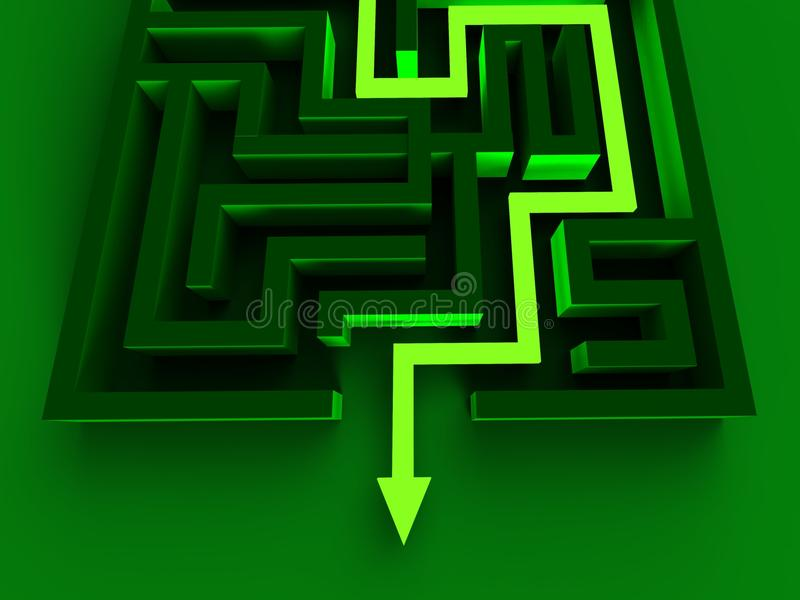 Solucionar a Maze Shows Puzzle Way Out stock de ilustración
