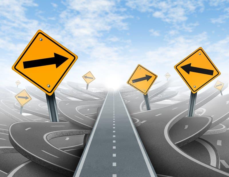 Soluciones claras de la estrategia y de la dirección stock de ilustración