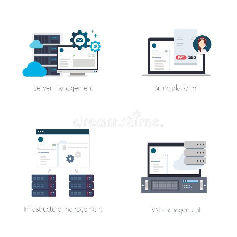 Soluciones de programación para los proveedores de alojamiento stock de ilustración