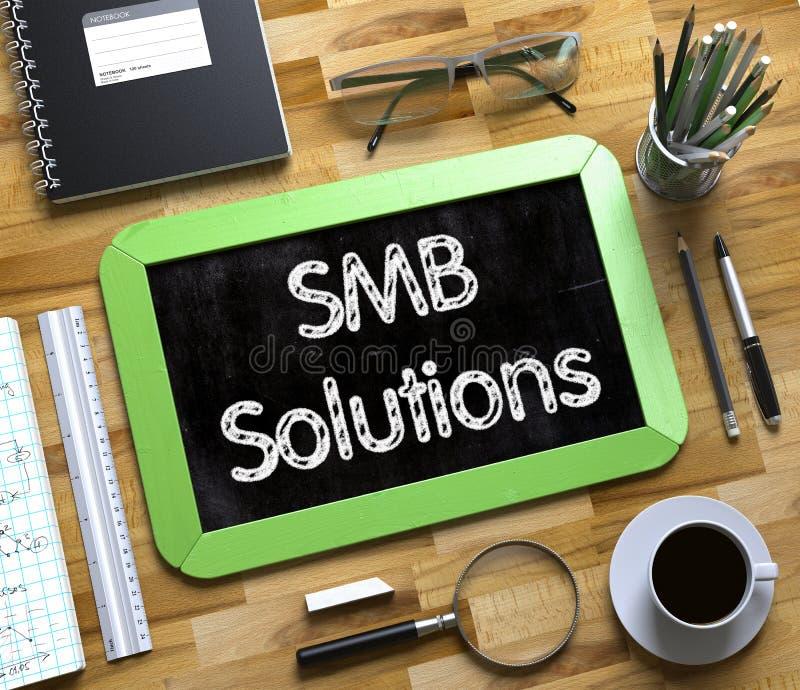 Soluciones de SMB en la pequeña pizarra 3d rinden stock de ilustración