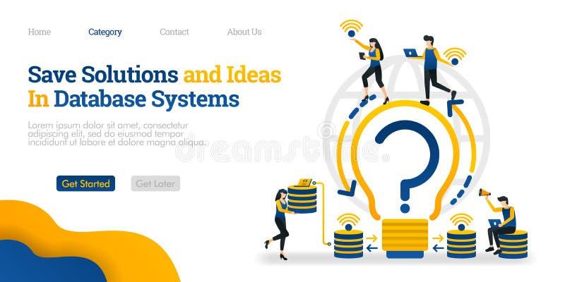 Soluciones e ideas de ahorro en sistema de base de datos soluciones del hallazgo y almacenarlos en base de datos Concepto plano d stock de ilustración