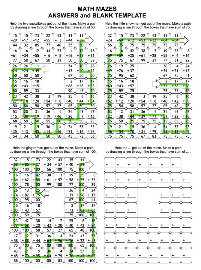Soluciones para los 3 laberintos anteriores de la matemáticas Plantillas para los nuevos rompecabezas stock de ilustración