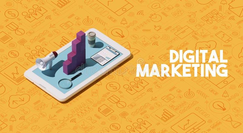 Soluciones y estrategias de comercialización de Digitaces ilustración del vector
