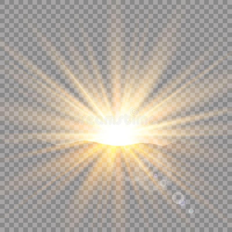 Soluppgång över bergen, gryning Genomskinligt solljus för vektor Ljus effekt för special linssignalljus stock illustrationer