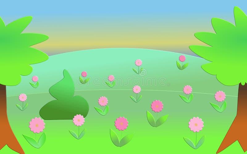 Soluppgång över bergigt landskap med rosa blommor arkivfoton