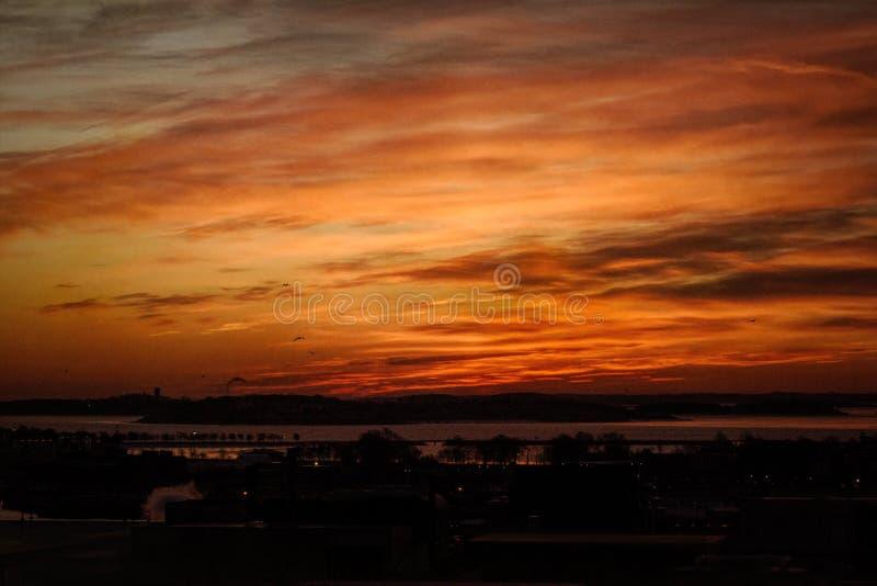 Soluppgång över breda flodmynningen i Boston arkivfoto