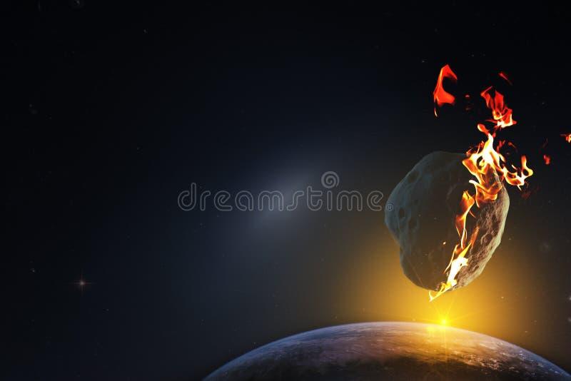 Soluppgång över en planet som till döds fördömas från nedgången av en meteorit från det oändliga utrymmet av universumet Bestånds arkivbild