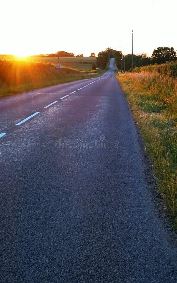 Soluppgång över en väg och några fält i Bourgogne i Frankrike royaltyfri fotografi