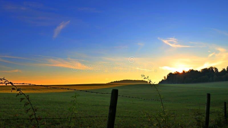 Soluppgång över fälten royaltyfri foto