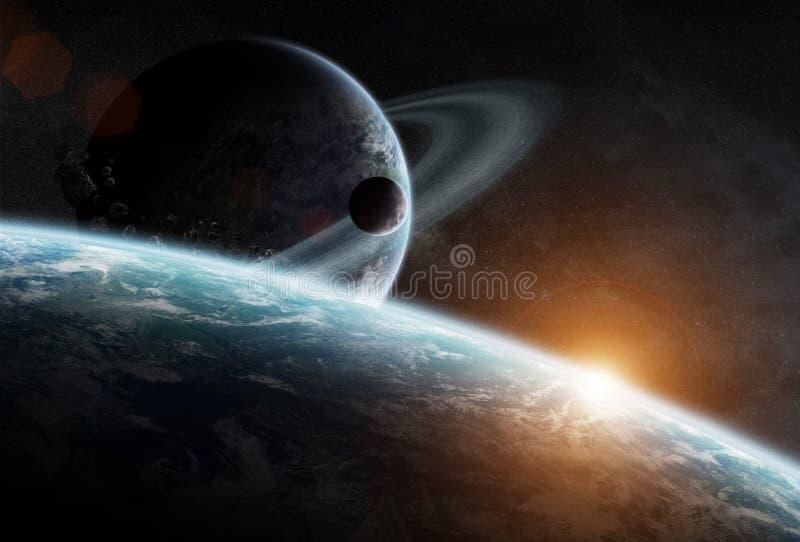 Soluppgång över gruppen av planeter i utrymme stock illustrationer