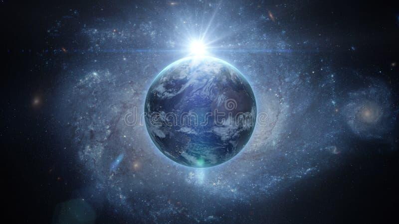 Soluppgång över jord som sett från utrymme Med stjärnabakgrund framförande 3d royaltyfria bilder