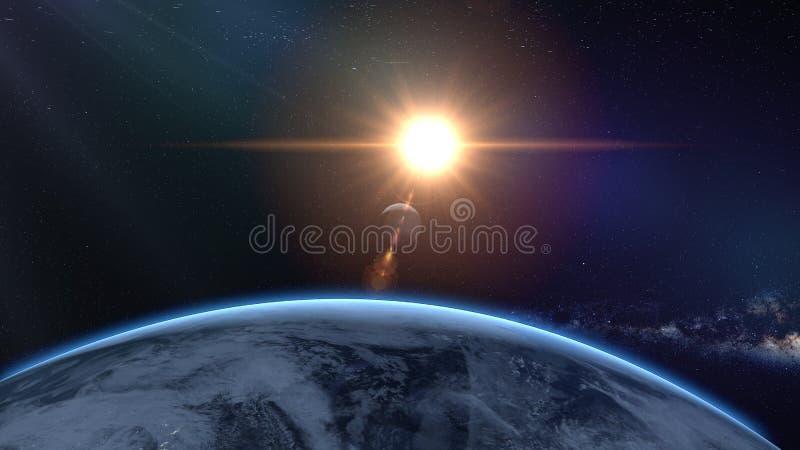 Soluppgång över jord som sett från utrymme Med stjärnabakgrund framförande 3d vektor illustrationer