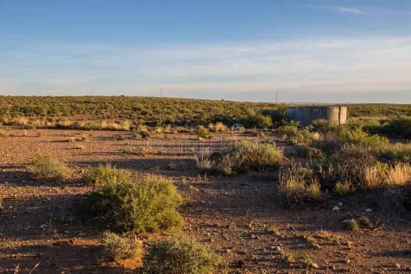 Soluppgång över karooen i Sydafrika arkivbilder