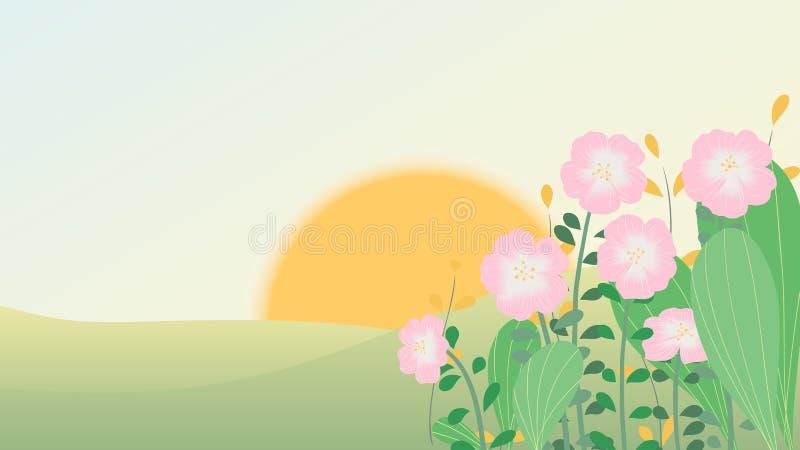 Soluppgång över kullen och rosa färgblommalandskap stock illustrationer