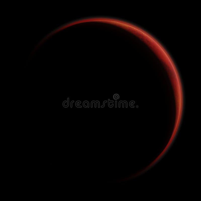 Soluppgång över planeten fördärvar, den röda planeten med synlig atmosfär som isoleras på svart bakgrund royaltyfri illustrationer