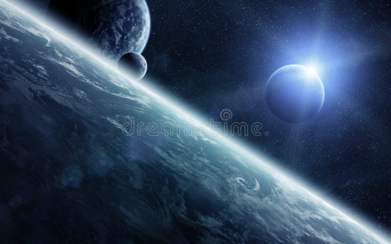 Soluppgång över planeter i utrymme stock illustrationer