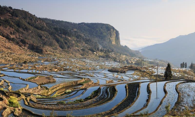 Soluppgång över YuanYang ris terrasserar i Yunnan, Kina, en av de senaste UNESCOvärldsarven arkivbild