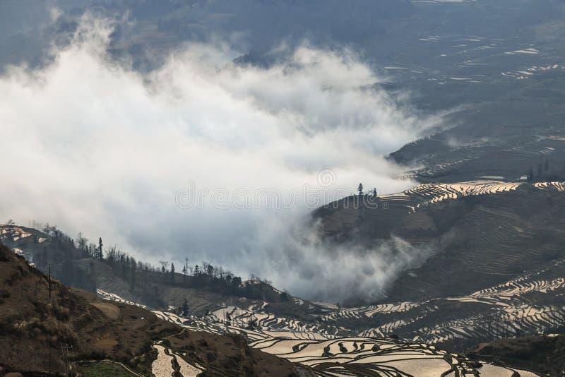 Soluppgång över YuanYang ris terrasserar i Yunnan, Kina, en av de senaste UNESCOvärldsarven royaltyfria bilder