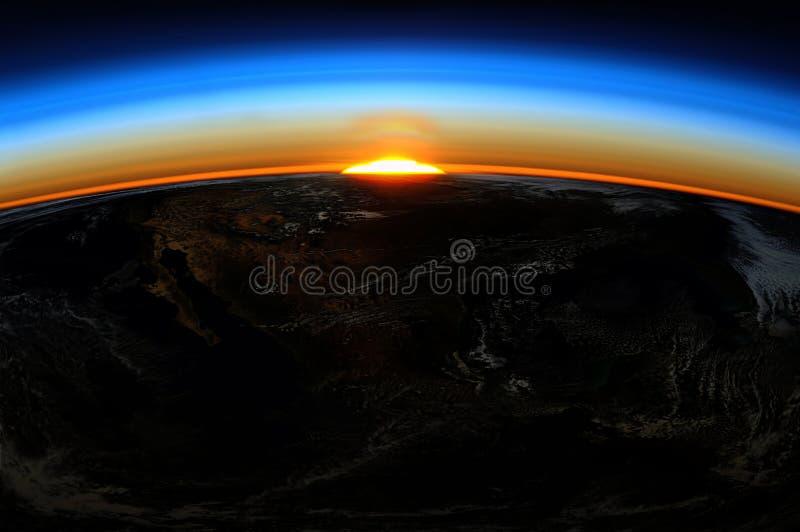 Soluppgång av jord fotografering för bildbyråer