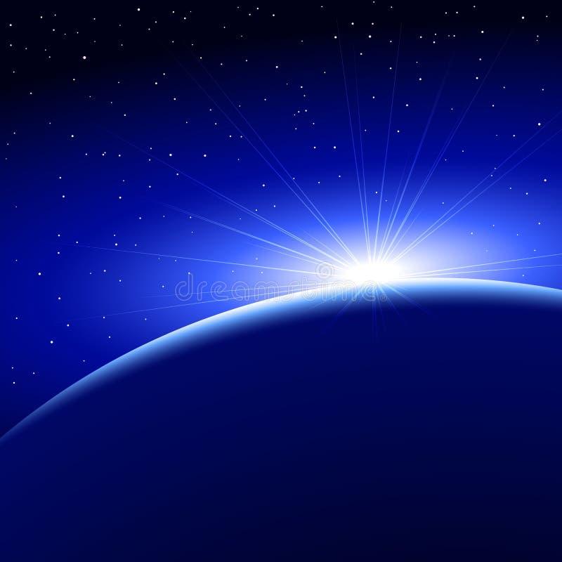 Soluppgång Dawn Space Planet Earth royaltyfri illustrationer