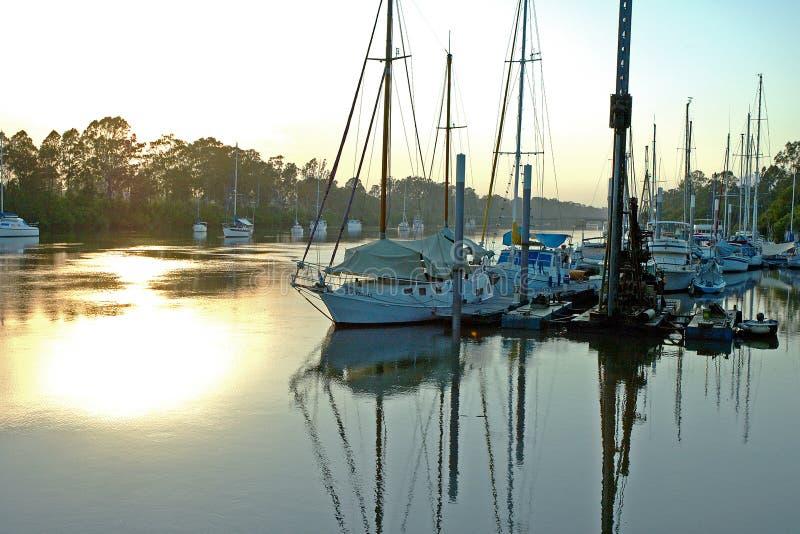 Soluppgång För 2 Flod Arkivbild