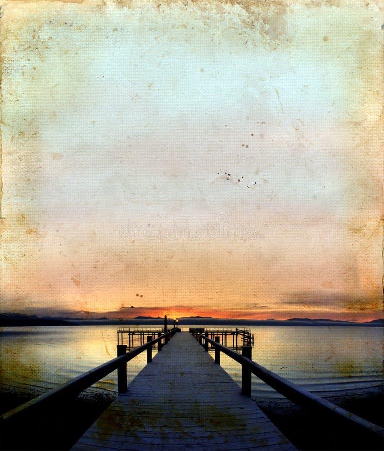 soluppgång för bakgrundsdockgrunge arkivfoton