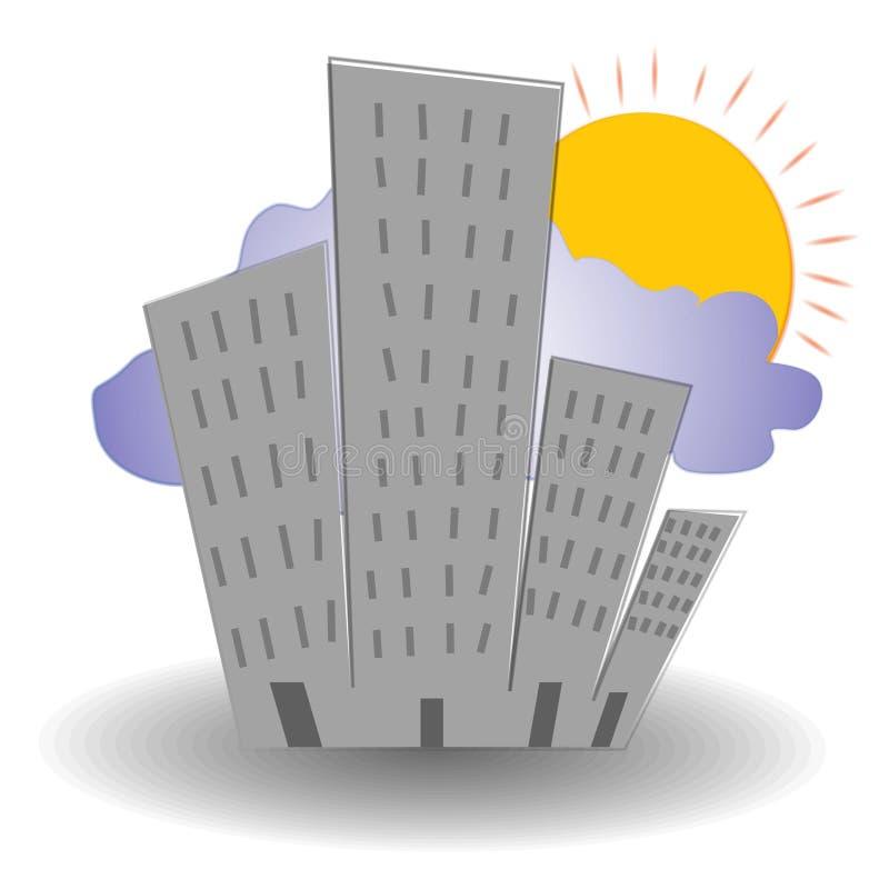 soluppgång för byggnadsstadsplats royaltyfri illustrationer