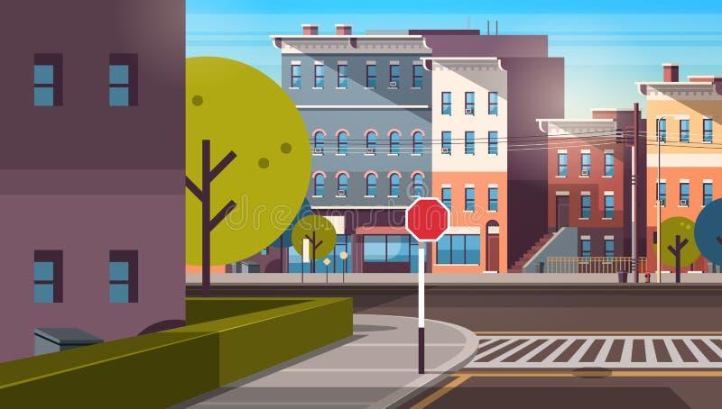Soluppgång för otta för cityscape för tom i stadens centrum väg för arkitektur för hus för stadsgatabyggnad horisontalstads- fram vektor illustrationer