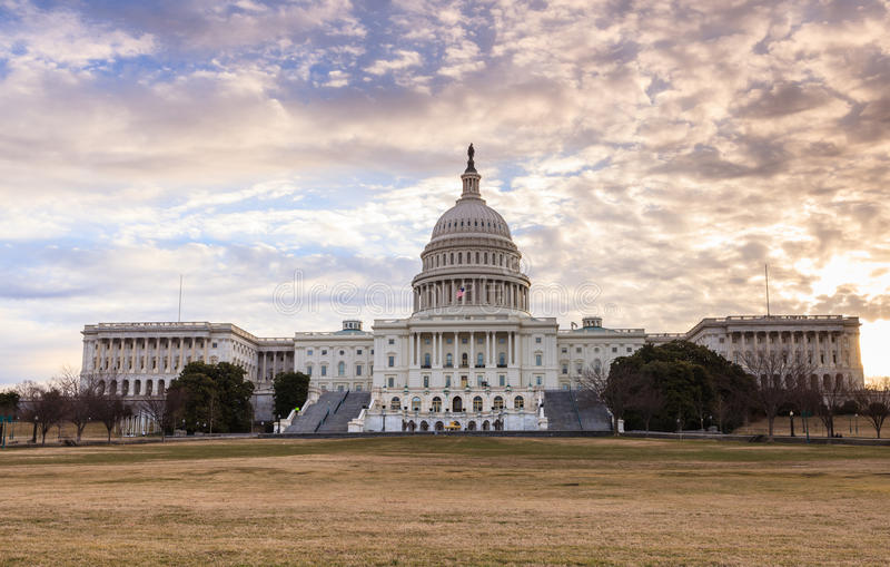 Soluppgång för Washington DC för USA-Kapitoliumbyggnad royaltyfria foton