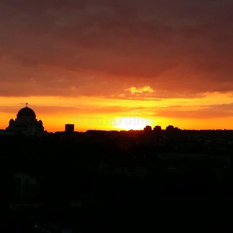 Soluppgång i Belgrade arkivfoto