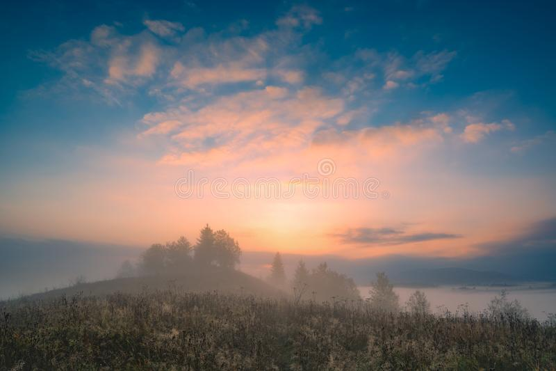 Soluppgång i den ukrainska dalen för carpathian berg royaltyfri bild